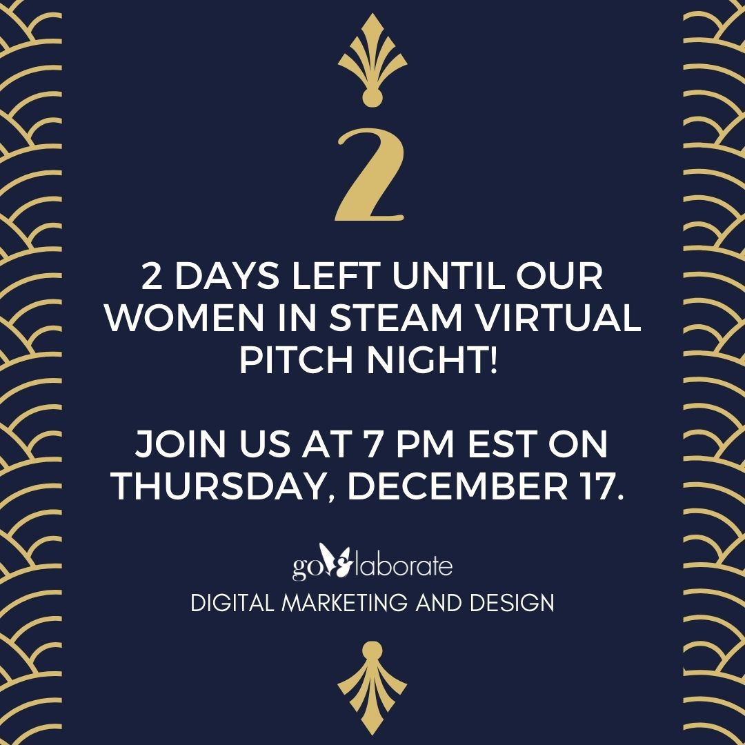 2 days left until our Women in STEAM Virtual Pitch Night! Join us at 7 PM EST on Thursday, December 17. Register using the link below.    #Startup #Ideas #PitchNight #StartupLife #startups #DigitalMarketing #goElaborate