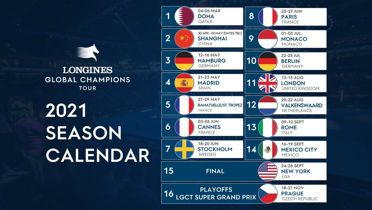 """Longines Global Champions Tour on Twitter: """"Roll on 2️⃣0️⃣2️⃣1️⃣ - We can't  wait for #LGCT2021 and watch the world's best show jumping action 🐎 Which  stop on the tour are you most"""