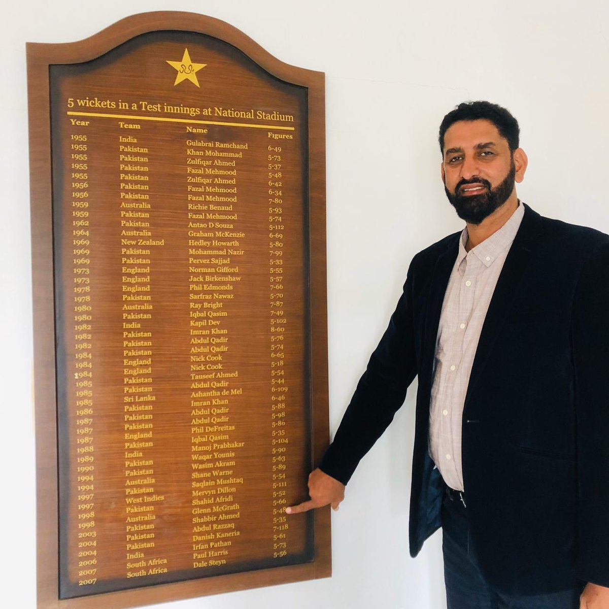 Khanewal express @ShabbirTestCric visited National Stadium, Karachi's honours board and recall his 5-wicket haul he took against Bangladesh in 2003 on debut.  #Cricket #Pakistan #ShabbirAhmed #QeA20 #Karachi #HarHaalMainCricket