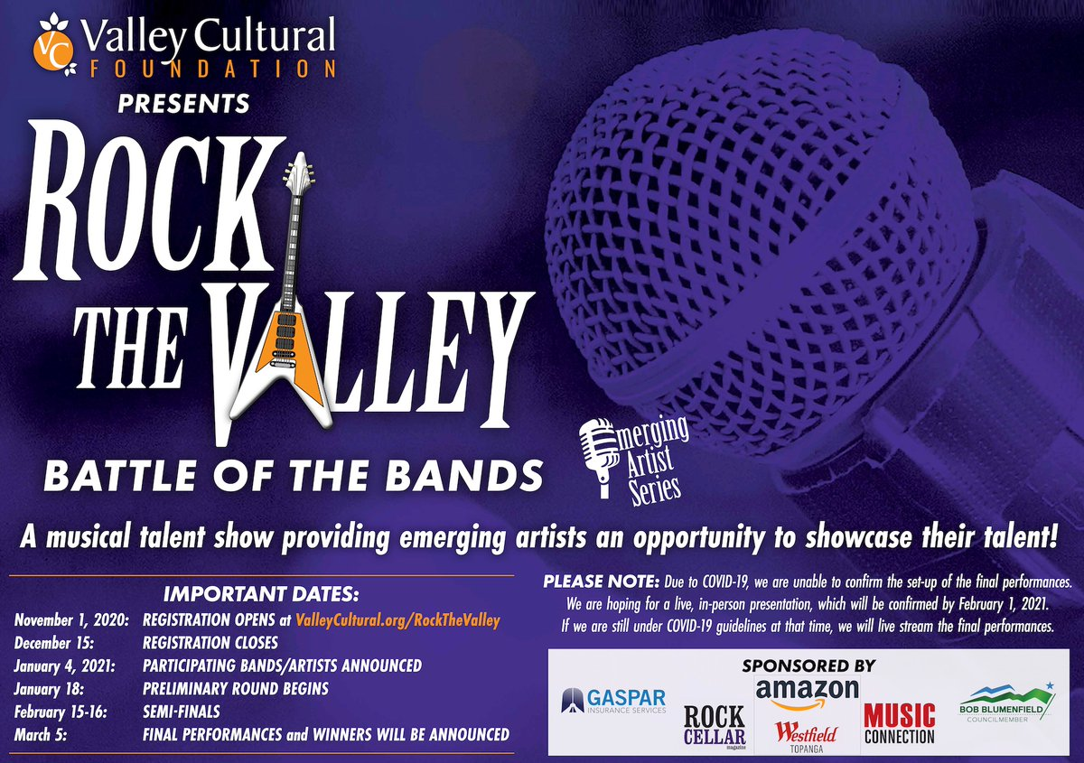 Last Day to register for our Rock the Valley #virtual Battle of the Bands! Go to  today!  #music #concert #LosAngeles #OnlineConcert  #local #artists  #nonprofit #LiveBand #NewMusic #LocalBand #UpAndComingArtist #EmergingArtist #VirtualConcert #OnlineEvent