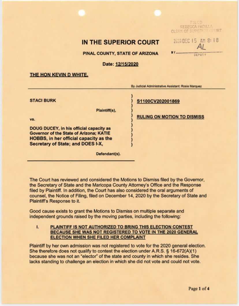 UPDATE: Pinal County Superior Court judge has tossed 'Kraken 2.0' suit in AZ.  'Plaintiff by her own admission was not registered to vote for the 2020 general election. She therefore does not qualify to contest the election.'