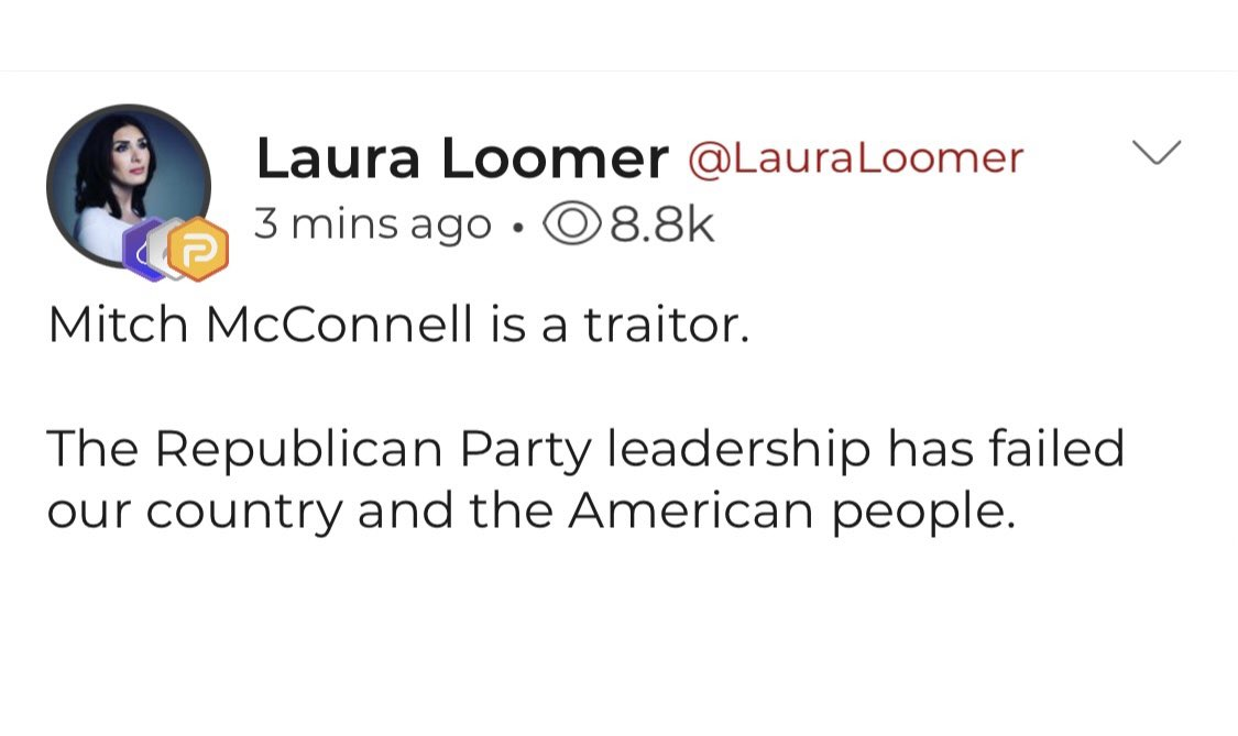 Replying to @parlertakes: Parler reactions to Mitch McConnell acknowledging Biden as president-elect.