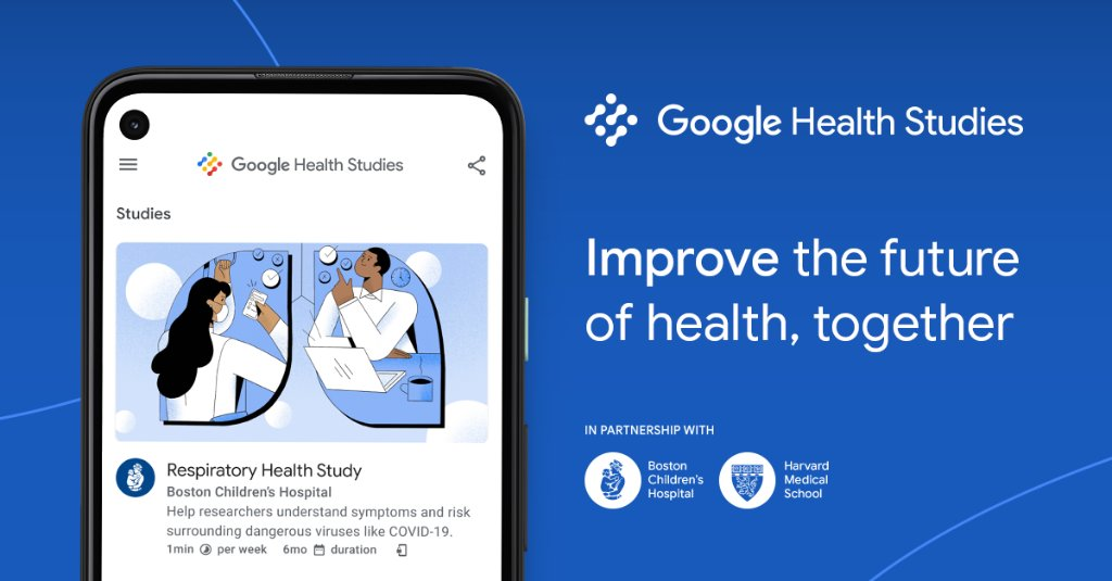 We're proud to have to partnered with @bostonchildrens and @harvardmed for the first study in the #GoogleHealthStudies app. This research focuses on respiratory illnesses like #COVID19: