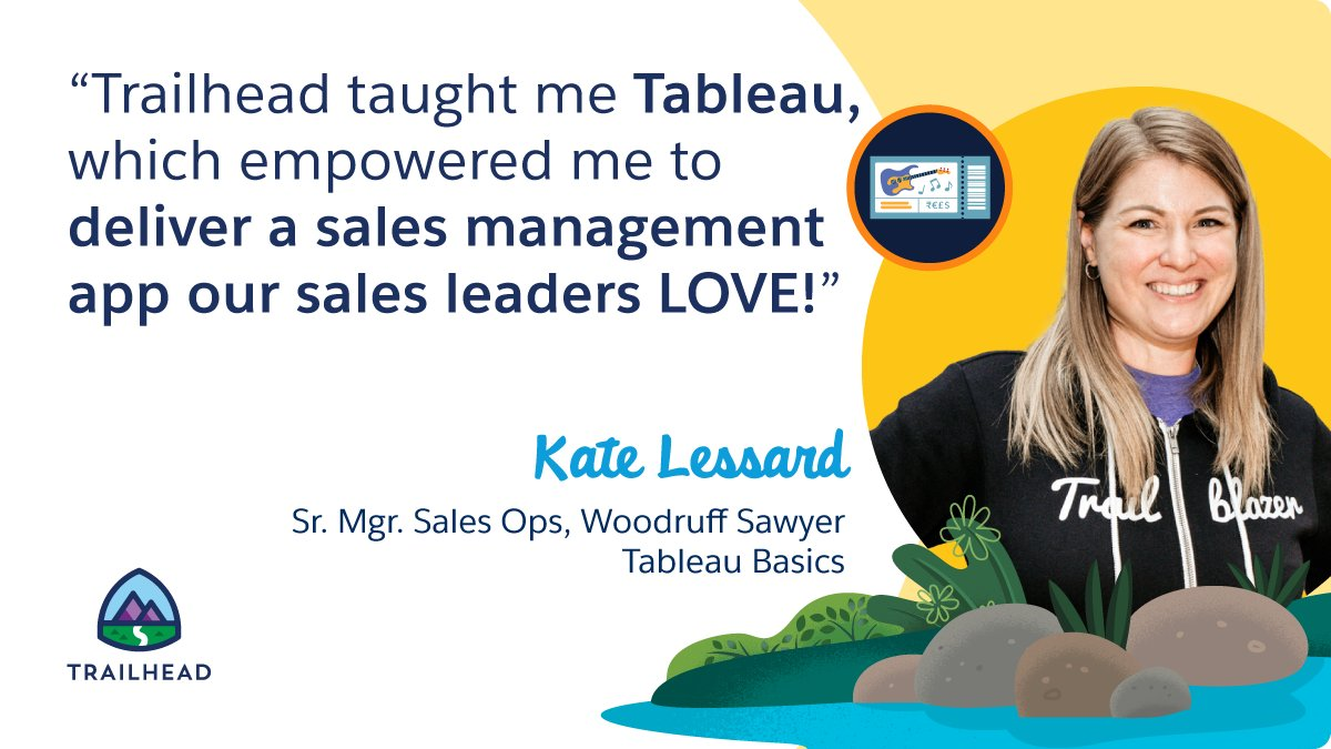 🌟@SalesforceK8 learned @Tableau on Trailhead & built a successful sales management app that leaders at her company love!  Learn Tableau Basics to visualize your data in new ways:   Drop us a note below & share how you've skilled up with #TrailheadTaughtMe.