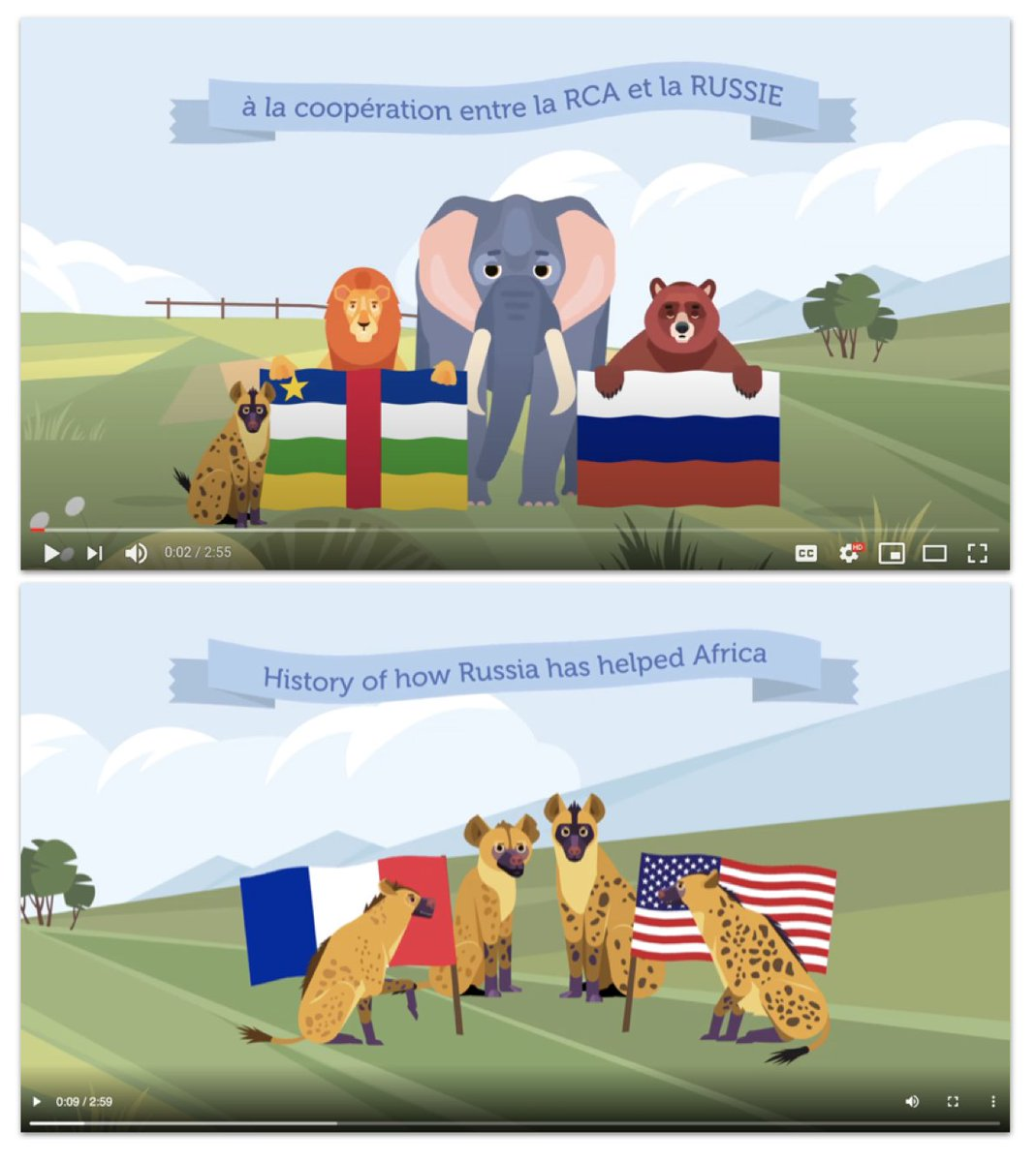 This fabulous cartoon, about a bear saving a lion from French/U.S. hyenas, was sponsored by Prigozhin firm Lobaye Invest at the time. (h/t  @dionnesearcey, who wrote it up for  @nytimes in September 2019) Troll assets boosted it.
