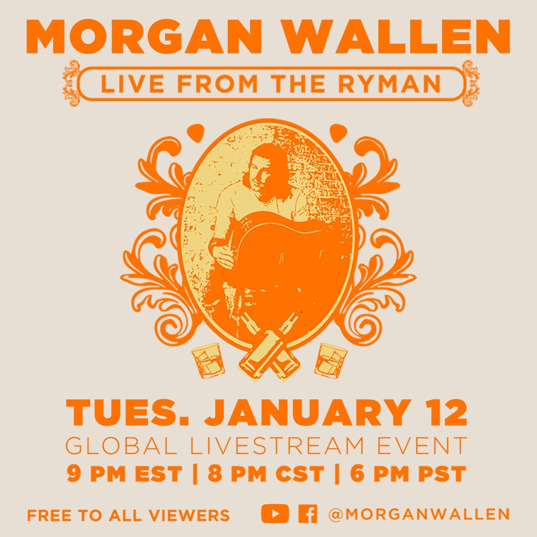MORGAN WALLEN LIVE FROM THE RYMAN — join the global livestream event to celebrate Dangerous: The Double Album on January 12, 2021 @ 9PM ET / 8PM CST — @theryman   — Team MW