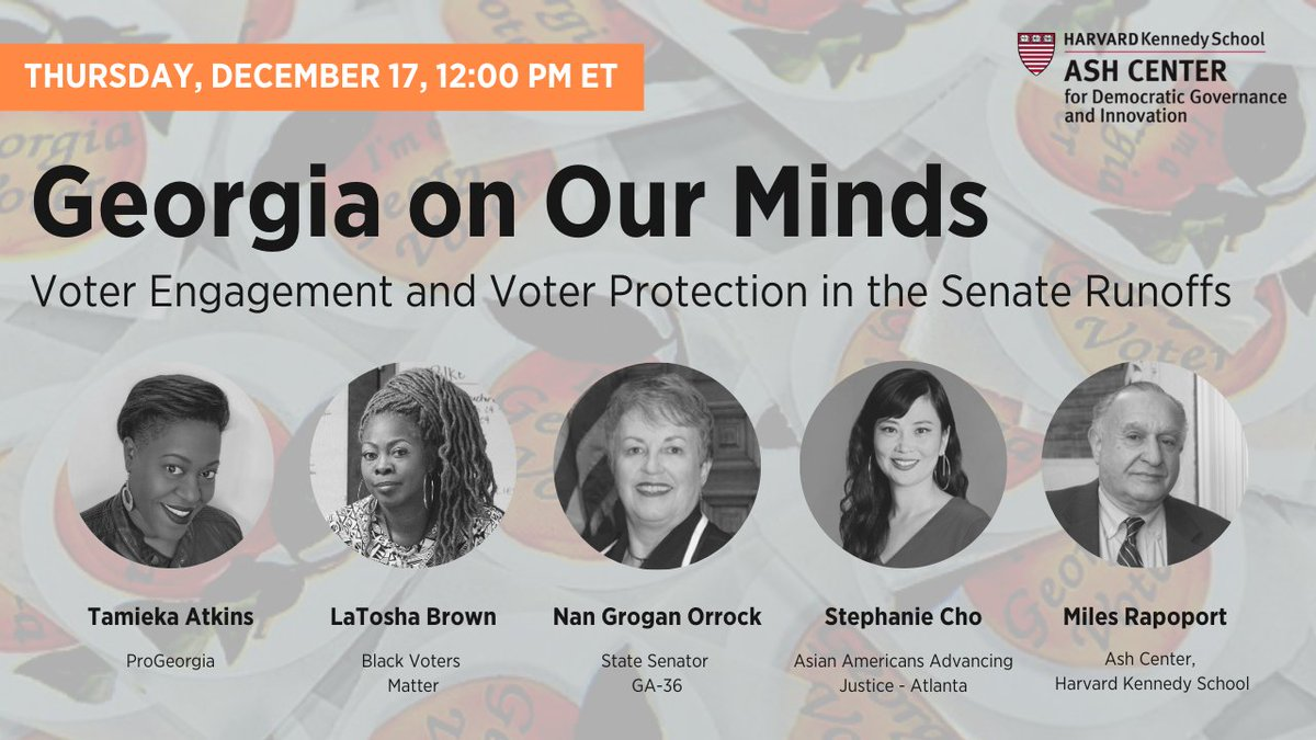 What efforts are taking place to encourage and protect the votes of Georgia's citizens?   Join us next week in discussion with: ■ @TamiekaAtkinsGA ■ @MsLaToshaBrown ■ @SenNanOrrock ■ Stephanie Cho, @AAAJ_Atlanta ■ @MilesRapoport   Register →