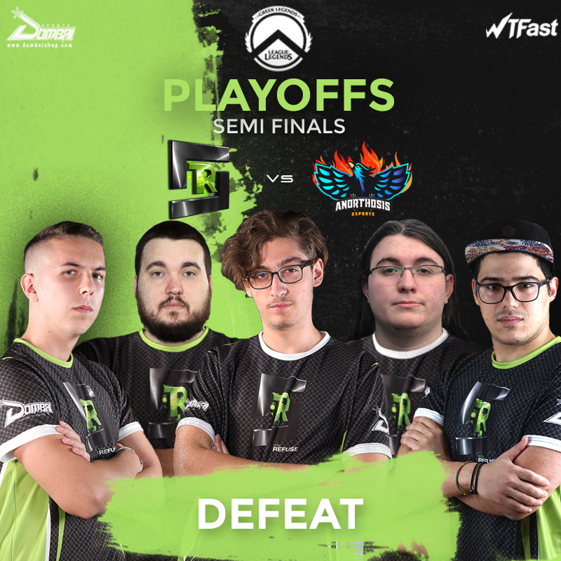 Unfortunately, we didn't manage to won the series versus Anorthosis esports on the Semi-Finals of @GRLegends!   GGWP @anoesports     #Refuse2Lose  @Dombai_Europe | #WTFast