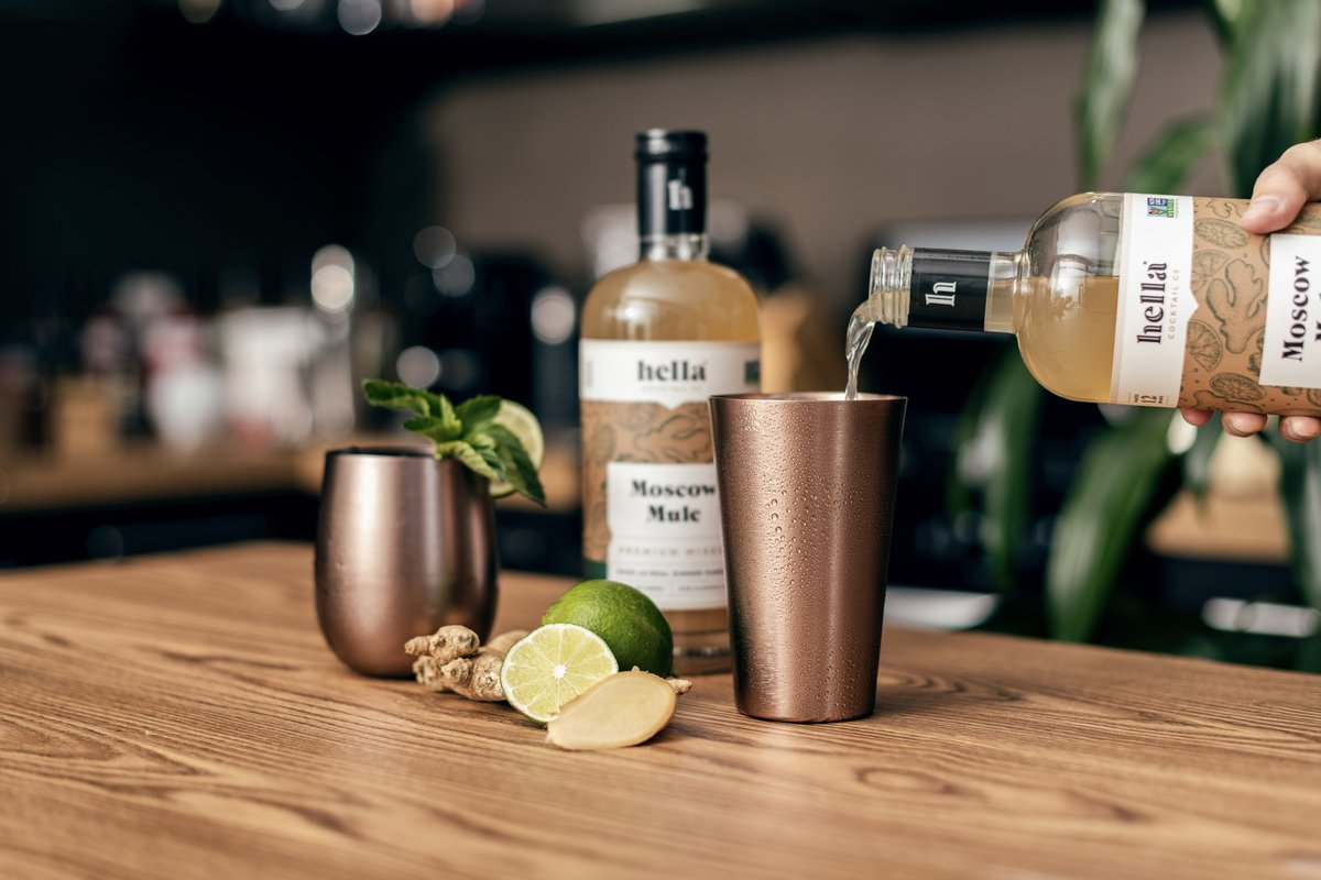 "Ginger and lime prove their versatile goodness in Hella's Premium Moscow Mule Cocktail Mix. Combine 2 oz. of Mule mix with 1 oz. vodka and pour over shaved ice in a copper cup. Create a ""Dark and Stormy"" by using rum. Enjoy!  Shop @HellaCocktailCo →"
