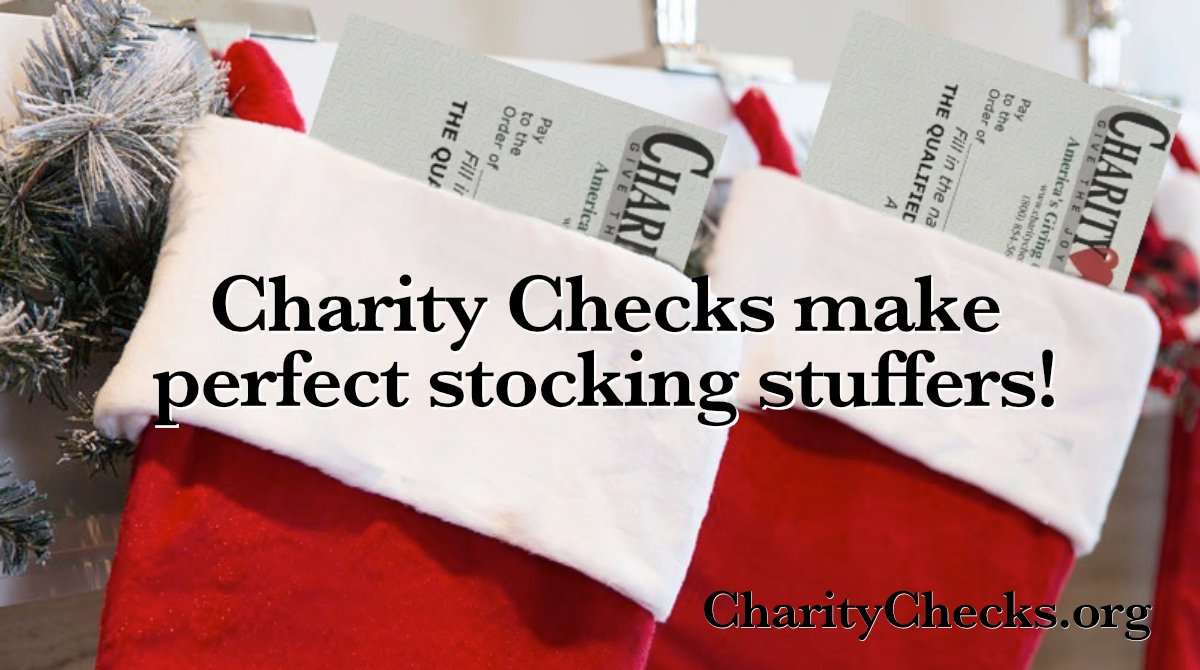 Charity Checks are perfect #stockingstuffers! Give them to people you care about so they can give them to the charities they care about!!   #ChristmasGifts #HolidayGifts #RedefineGifting #PayItForward #KidGifts #GiftsForKids #GrandKidGifts #EmployeeGifts