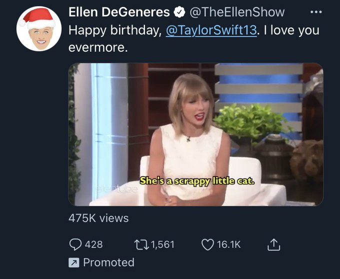 Why is ellen promoting her happy birthday message to taylor swift