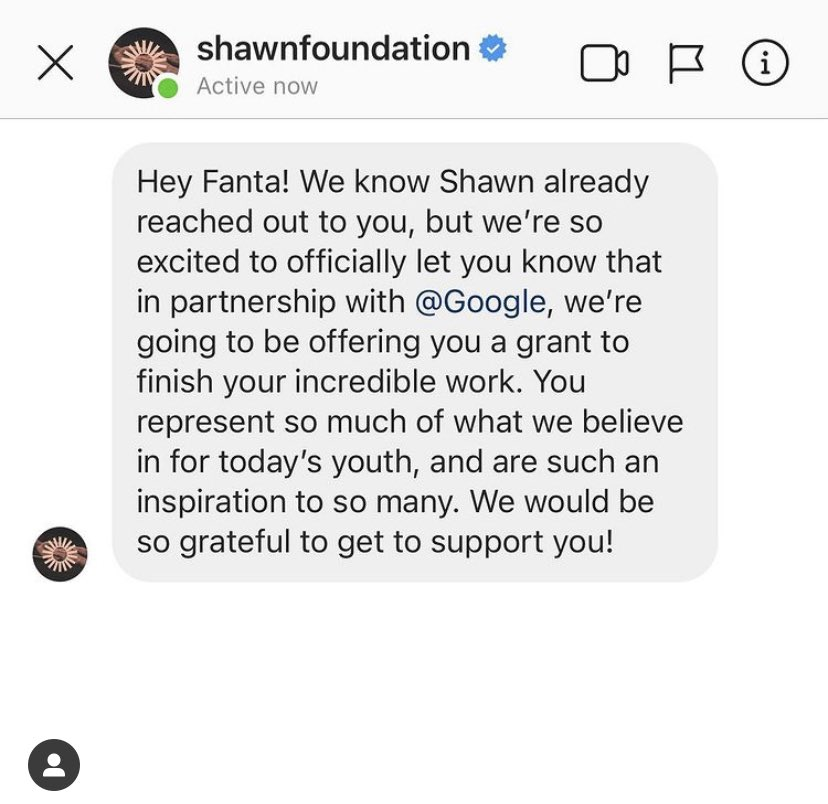 Thank youuuu @ShawnMendes 💜 Honored to be the first grantee 🤞🏾🥺
