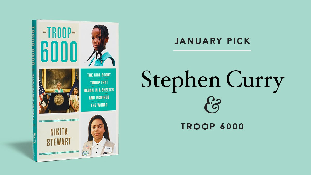 The January selection for @StephenCurry30's book club, STAY UNDERRATED, is Troop 6000 by @kitastew. When a young, homeless mother of five decides to found @OGTroop6000, her spark of good ignites the fire of hope for a community of overlooked girls. 