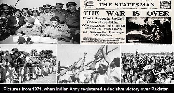 वर्ष 1971 के युद्ध में भारतीय सेना के अद्भुत पराक्रम ने दुनिया का नक्शा बदल दिया. अपना सर्वस्व अर्पण कर माँ भारती की गरिमा की रक्षा करने वाली हमारी सेना को नमन। जय हिंद!  वंदे मातरम्!  #VijayDiwas