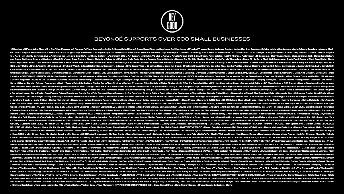 Beyoncé's BeyGOOD has supported 600 business to date. And next week will be announcing Phase 2 of the Impact Fund. It's holiday GOOD news.