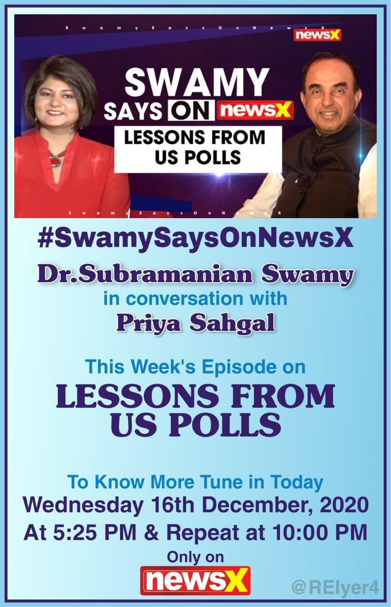 WHO BETTER TO HEAR IT FROM but DR SWAMYJI- LESSONS FROM US POLLS.A HOT TOPIC OF DISCUSSION -SWAMY SAYS ON NEWS X WITH PRIYA SAHGAL.Details 👇@Swamy39 @jagdishshetty @vhsindia @ArvindChaturved @rameshnswamy @Priyascorner at 5.25 PM IST & Repeat at 10 PM Today 16th Dec