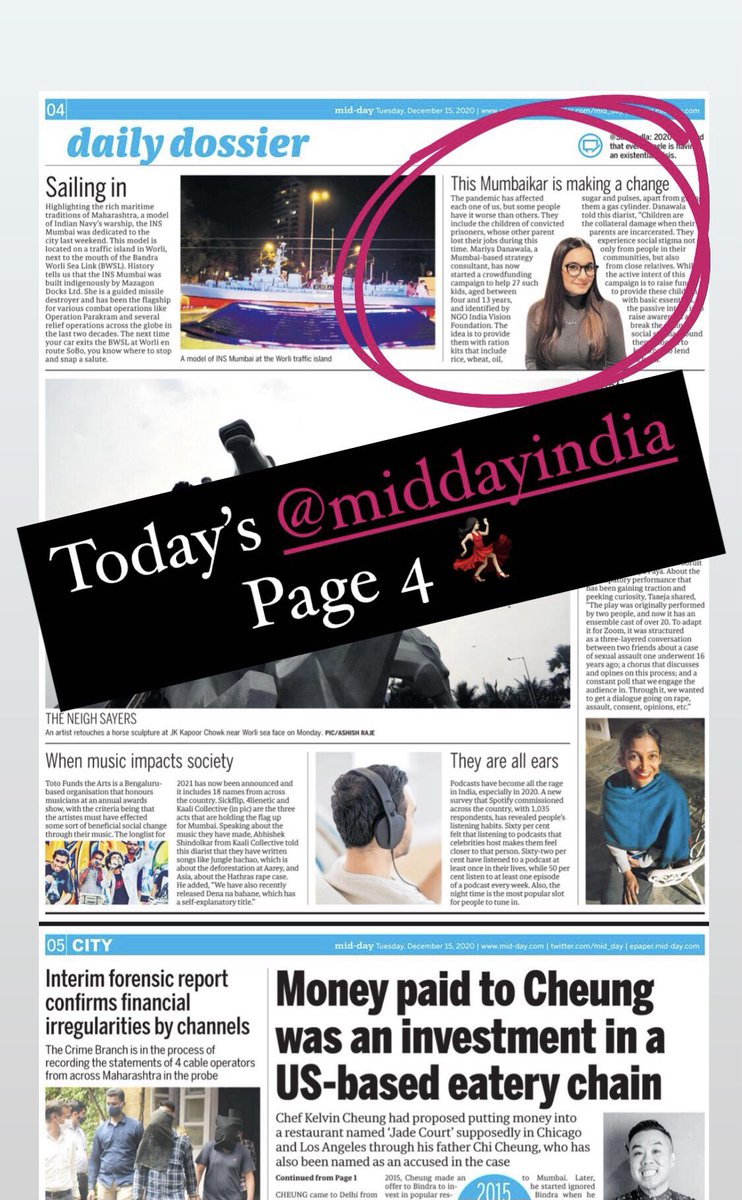 Feature in the @mid_day Tabloid (Dated 15 December 2020) about the campaign with @IVFoundation towards Nourishing the Children of Prison Inmates. Learn more about the campaign at