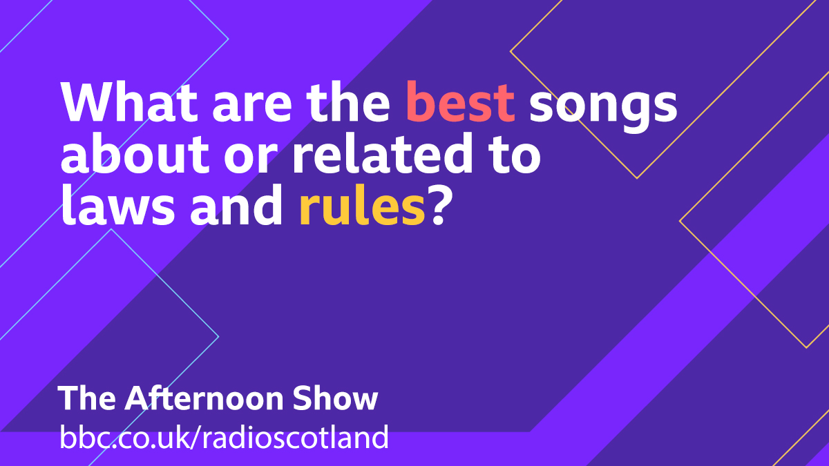 This afternoon @GrantStottOnAir is chatting to Supreme Court Lawyer Ross MacFarlane QC so for today's Topical Tune we are looking for songs about or related to laws and rules  Let us know below 👇  #TheAfternoonShow from 13:30 -