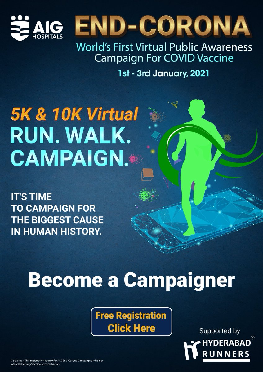 "Join the World's First Virtual Public Awareness Campaign for Covid Vaccine supported by Hyderabad Runners and be part of the ""END-CORONA"" campaign. #COVID19 #EndCorona #CovidVaccine #COVIDinIndia #coronavirus Click  to register"
