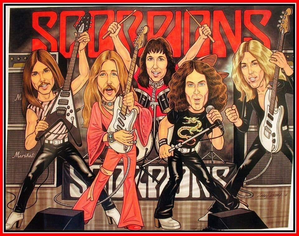 Such a cool caricature painting of @UliJonRoth1 era @scorpions, by artist Larry Weber. He particularly captures Uli, very well! https://t.co/wgKjkjmsHX