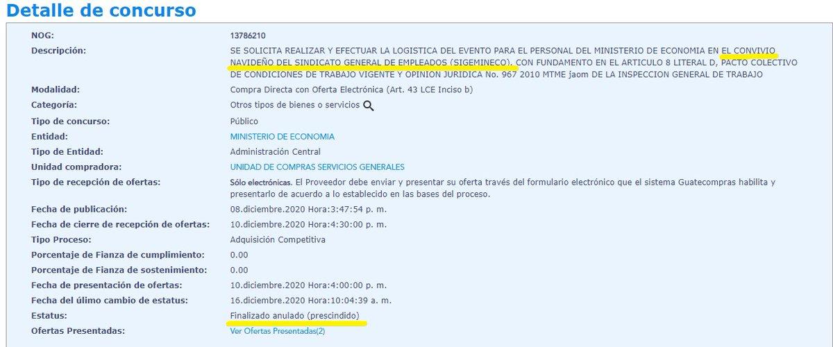 #AHORA  Anulan el contrato para el convivio del Sindicato del Ministerio de Economía, SIGEMINECO, el cual se llevaría a cabo hoy y el viernes. Vía: Samanta Guerrero