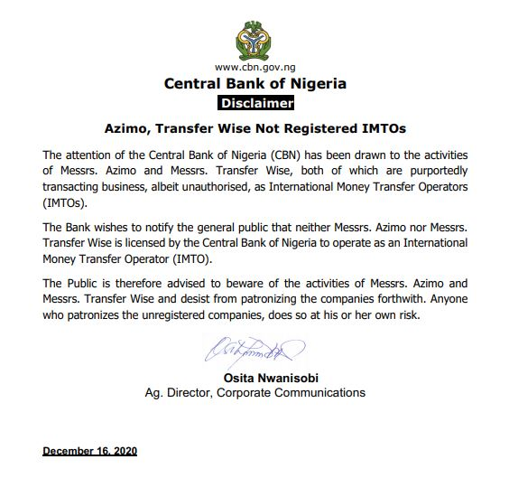CBN disclaims Azimo and Transfer Wise as IMTO