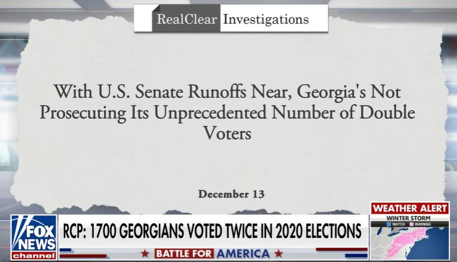 あばばばーー ジョージア州:1700名以上が【二重投票】。州当局も認めたとのこと。。大多数が民主党支持...