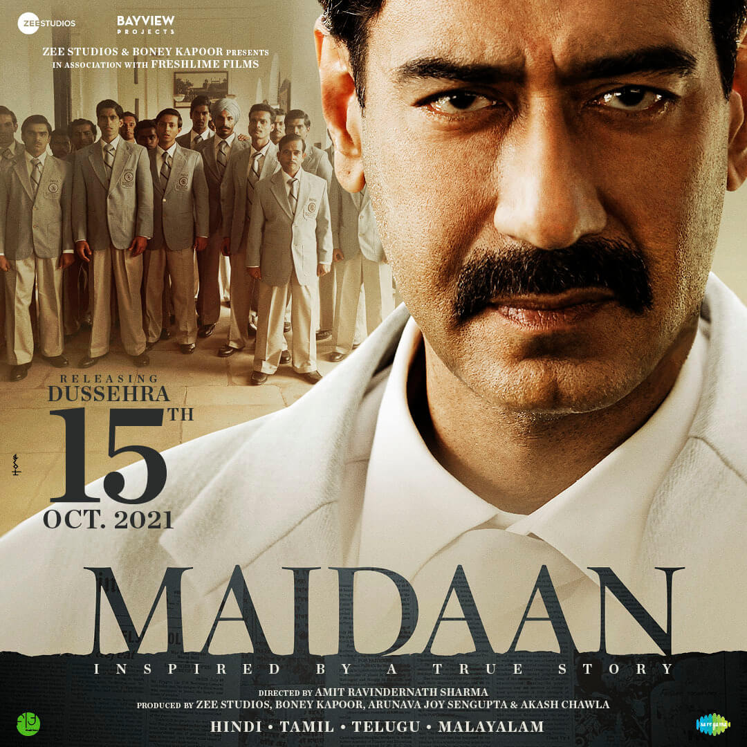 Ajay Devgn shared an update on his new film 'Maidaan', which is based on and dedicated to the golden years of football in India, and said it will now be released on 15th October 2021. #AjayDevgn #Maidaan2021 #Dussehra 2021.