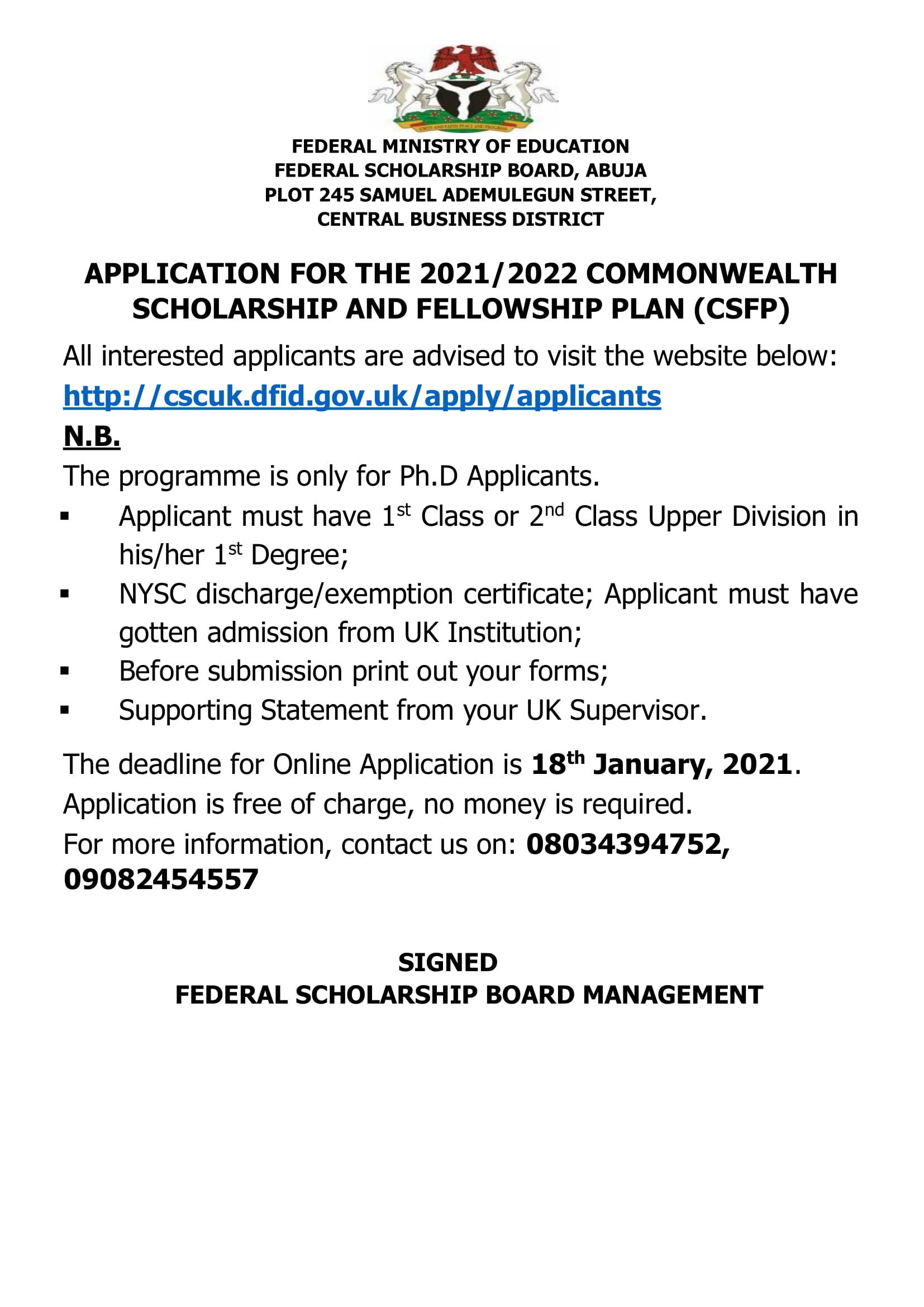 Commonwealth Scholarship and Fellowship Plan 2021/2022