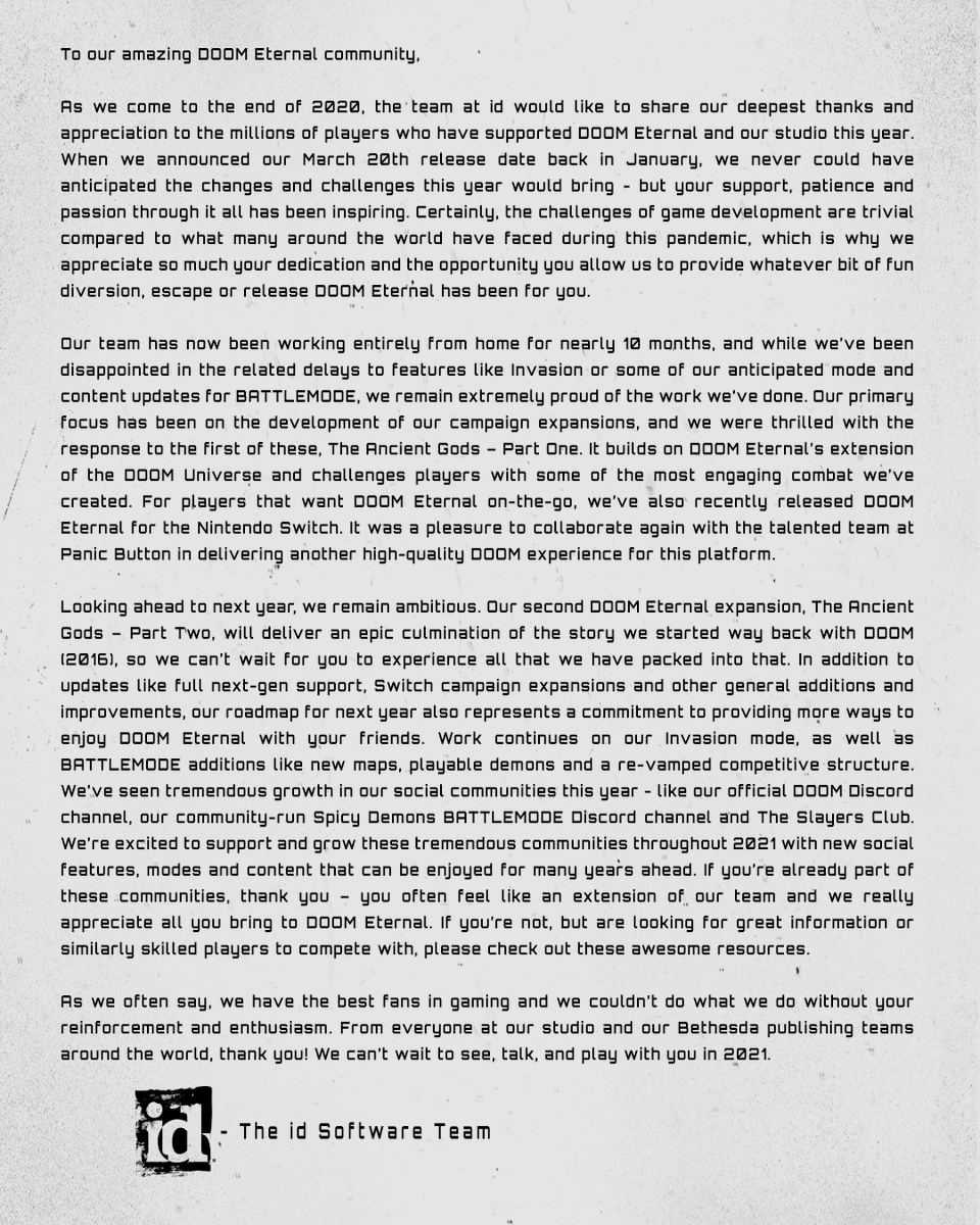 Replying to @DOOM: An end of year letter from @idSoftware to the amazing DOOM Eternal Community.