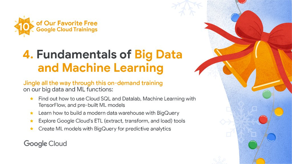 Jingle all the way through this on-demand training to help you learn the fundamentals of data analysis, #ML, data processing, and #BigQuery →