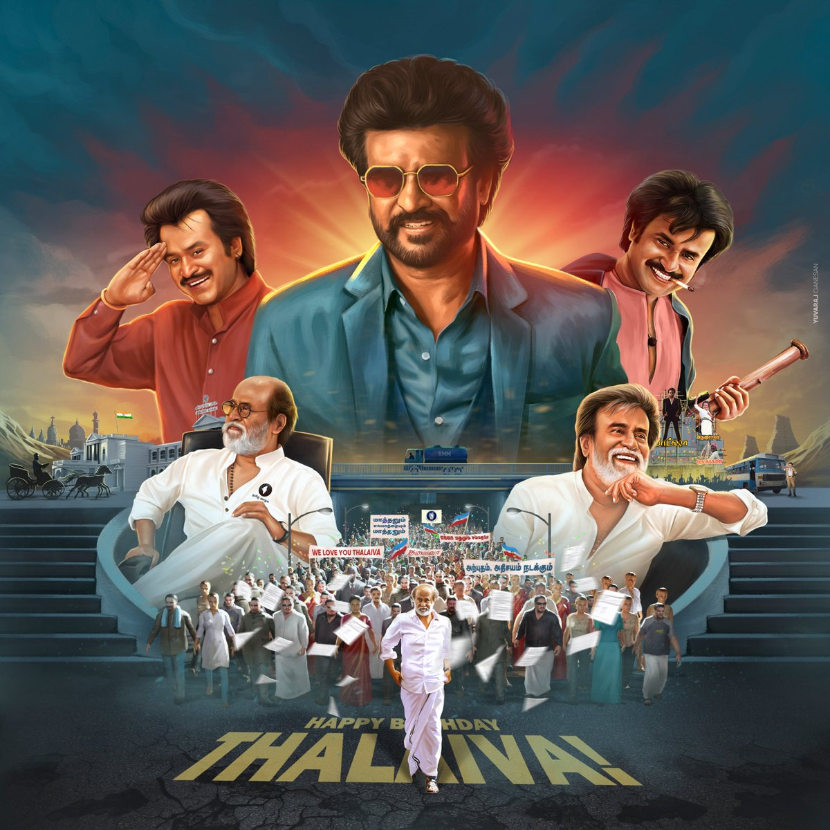 On behalf of Superstar #Rajinikanth fans, we thank every celebrity who accepted our request. We appreciate that you took the time to release #Thalaivar's 70th birthday CDP. The 70+ celebs made our online celebration even more special. 😍🤘  #HBDSuperstarRajinikanth #Annaatthe