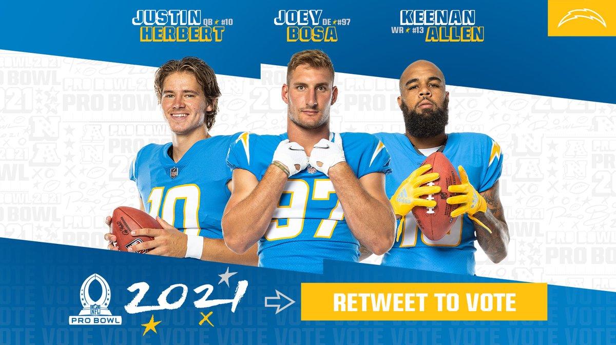 🚨 EVERY RT = 2 VOTES 🚨  #ProBowlVote + Justin Herbert #ProBowlVote + Joey Bosa #ProBowlVote + Keenan Allen