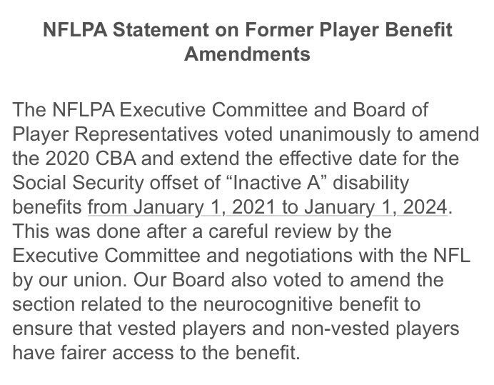 This doesn't give players back the lifetime benefits they had  contractually, but it's a step in the right direction. Thank you @meiselasb and @GencoLaw for your work in highlighting this issue in the new CBA.