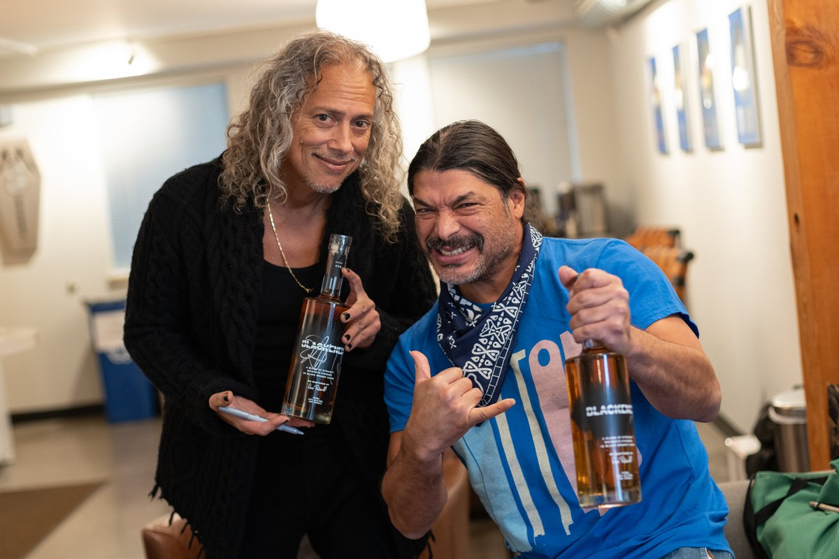 When the guys were in town for Helping Hands, @KirkHammett and @RobertTrujillo snuck away to autograph a limited run of @blckndwhsky bottles. Starting today, these bottles will be available to purchase online!  Find out more and get yours ➡️