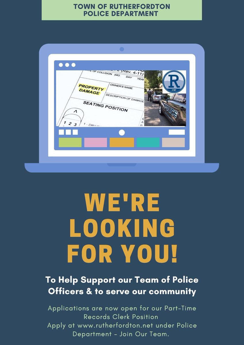 Now is your chance to join an amazing team, so don't let this opportunity pass you by! The Rutherfordton Police Department is currently seeking candidates for a part-time police records clerk. For a full job description, application and information go to
