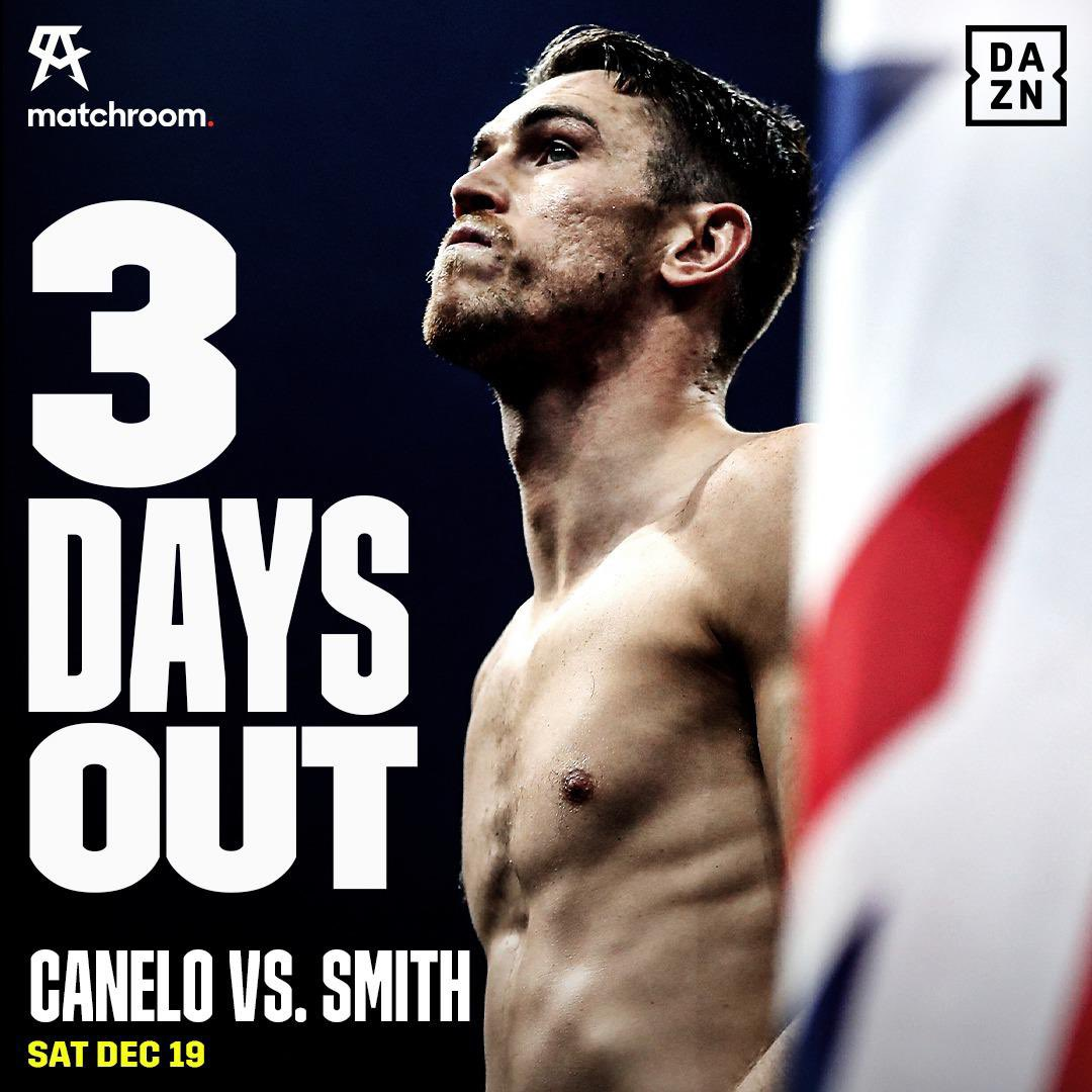 3 days until we fight and I can't wait to get in there!  Tune in this Saturday exclusively on @DAZNBoxing    #CaneloSmith