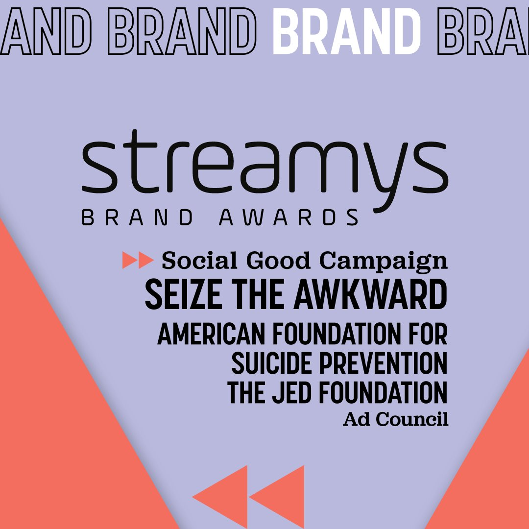 "Excited to share that our #SeizeTheAwkward campaign in partnership with @adcouncil and @jedfoundation was recognized as the winner of ""Best Social Good Campaign"" at this year's @streamys awards!"