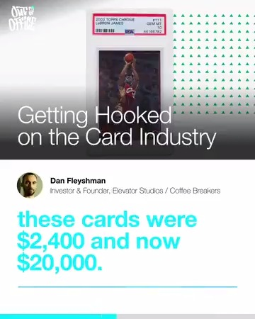 """These cards were $2,400 and now $20,000...Card I paid $600 for is now $5,000. These are not little returns."" - @DanFleyshman shares his story on how he got involved in the trading card biz.  Listen to new #OutOfOffice w/ @richkleiman & @DanFleyshman →"