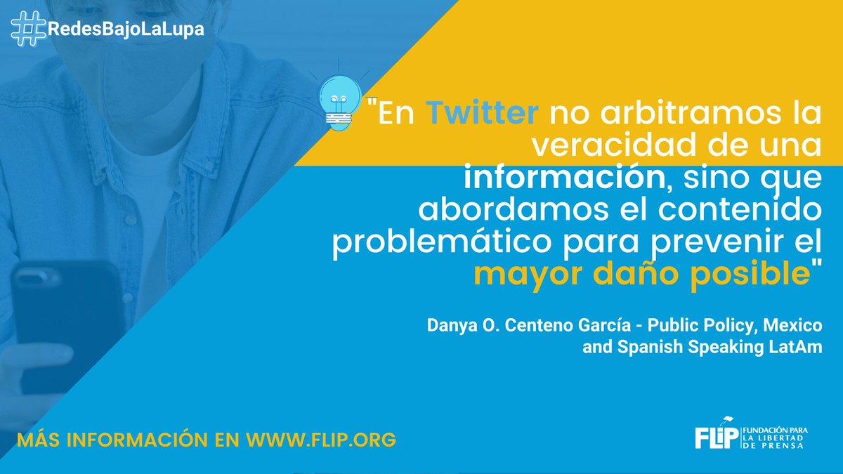 🗣️Según Danya Centeno de @TwitterLatAm, la plataforma indaga en el contexto de los trinos problemáticos para evitar la difusión de contenidos dañinos.  Esto nos dijo en #RedesBajoLaLupa 👇🏽