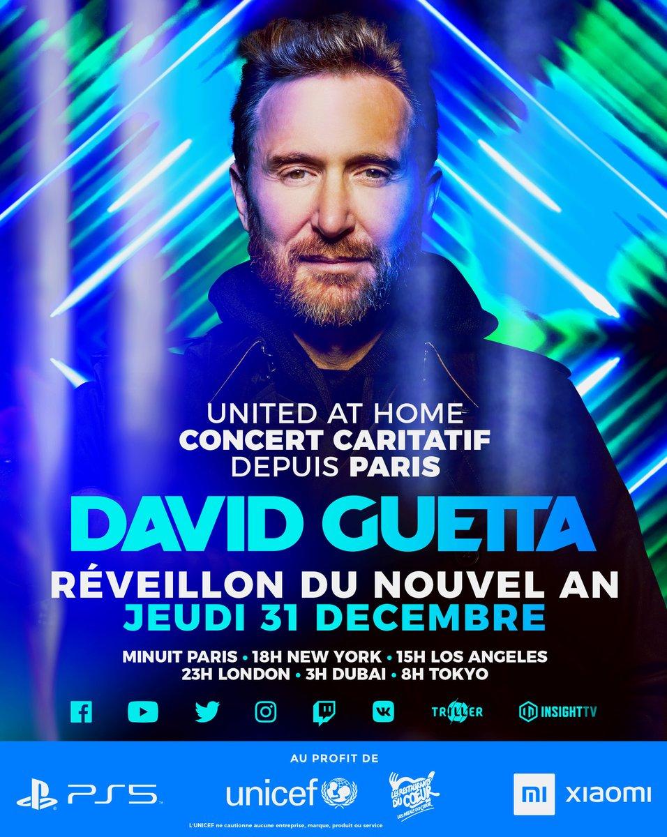 #Concert  @davidguetta propose un Nouvel An « connecté » pour fêter 2021  Diffusé depuis l'un des lieux les plus magiques de #Paris tenu secret, ce concert visera à soutenir #Unicef & @restosducoeur   RDV sur @TF1 le 1er janvier à 1h20   #unitedathomePARIS #PARISdanceathome