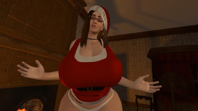 4 pic. Short animation I'm working on for the holidays!   #sizetwitter #breastexpansion #assexpansion