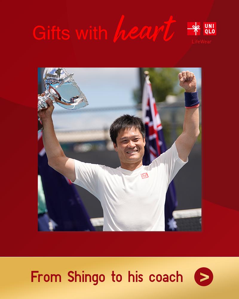 「いつも支えてくれるコーチへのプレゼント」  国枝慎吾選手が選ぶ、大切な人に贈りたいホリデイギフト🎁 皆さんも、大切な人にギフトを届けませんか❓  ▶今話題の著名人が選ぶユニクロギフトをぜひご覧ください‼
