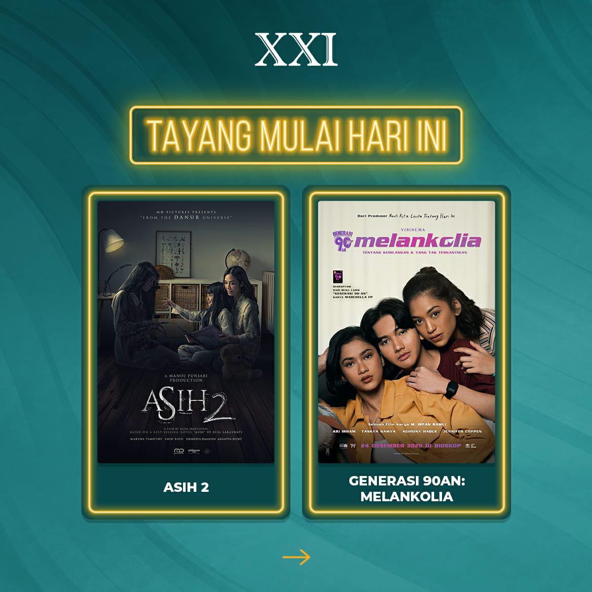 Top story: @cinema21: 'Hari ini #KamiskeBioskop nonton @FILM_Indonesia yang mana nih? Film Asih 2 atau Generasi 90an: Melankolia? Atau dua-duanya? Coba reply foto tiketnya, ya! Mimin tunggu 😍  #RinduNontondiXXI #ASIKny… , see more