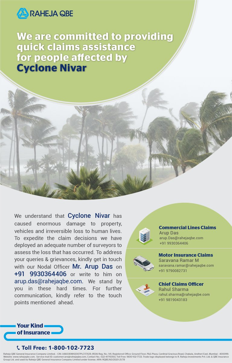 Despite a month passing, #CycloneNivar has caused such widespread devastation that people are still trying to get back to a normal life. We are doing our best to expedite everyone's claims. Please feel free to reach out to us for any further assistance.