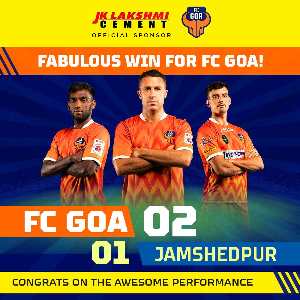 Two glorious goals by Angulo helped @FCGoaOfficial win against Jamshedpur! May the winning streak continue for the Gaurs.  #FCGoa #JKLakshmiCement