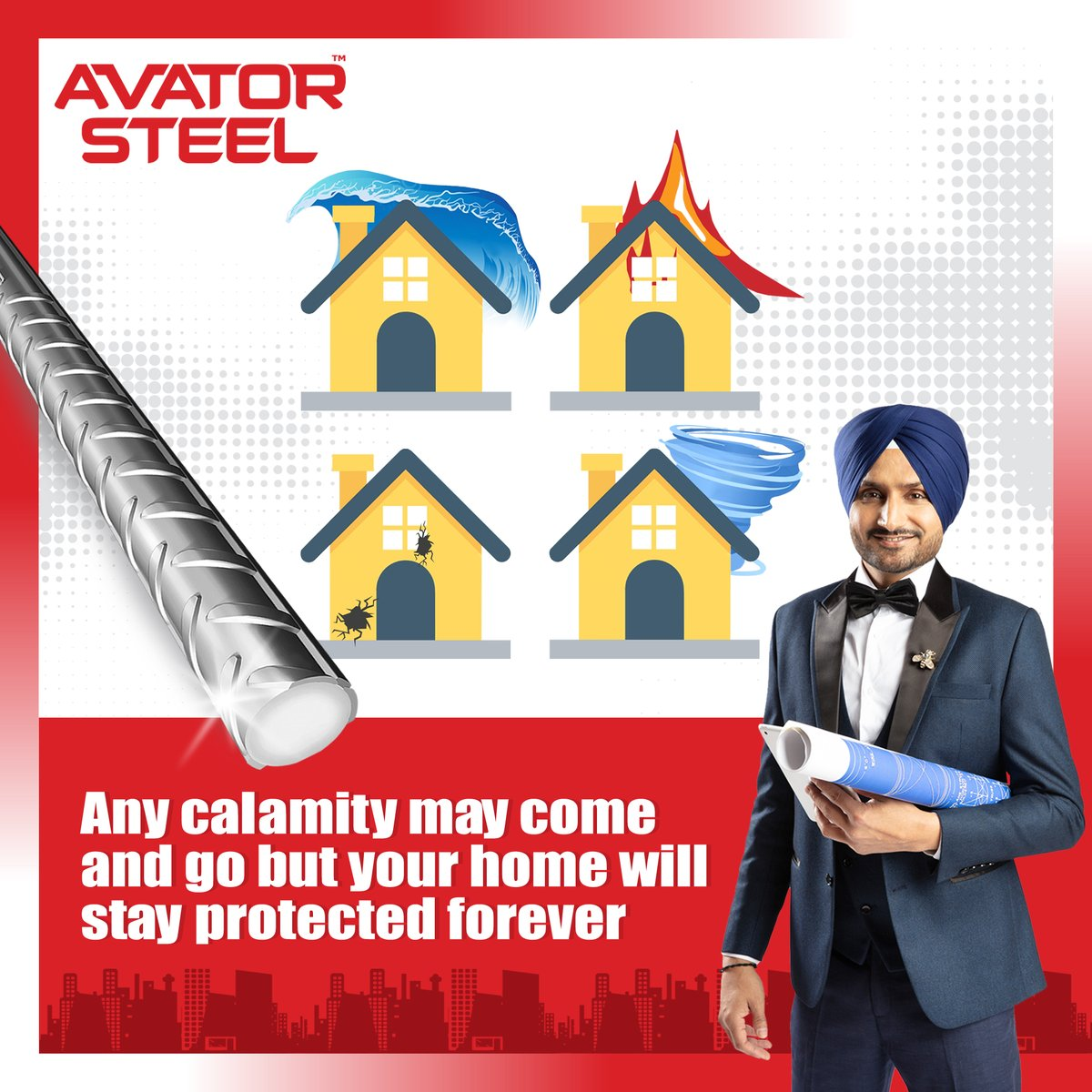 Calamities always come unannounced. Be prepared with the best in class TMT bars.  #AvatorSteel gives your home the ultimate protection against corrosion, fire, or earthquake.   #HarbhajanSingh #DreamHomes #FireResistant #earthquakeproof #CorrosionFree  @harbhajan_singh