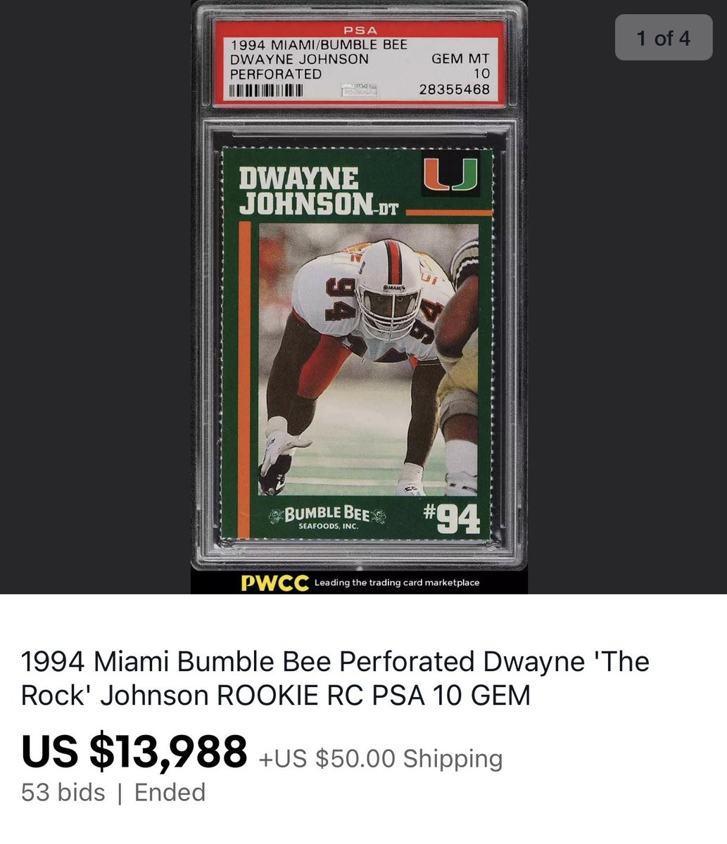 Gem Mint 10 card of @TheRock from the 1994 Bumblebee Tuna University of Miami sheet sold tonight on @eBay for nearly $14,000.  This was a $1,500 card in July. https://t.co/Nbc3q0NvBe
