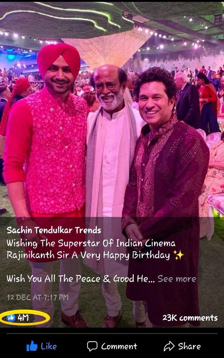 4 MILLION likes 👍👍👍👍👍  #Annaatthe @sachin_rt @harbhajan_singh @rajinikanth #HBDSuperstarRajinikanth