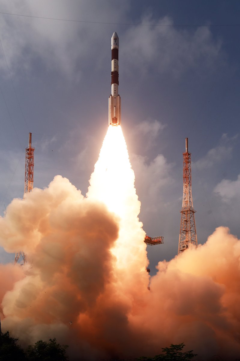 Stunning glimpses of today's lift-off  #PSLVC50 #CMS01